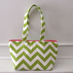 Green and white chevron shoulder bag by LislynDesigns on Etsy
