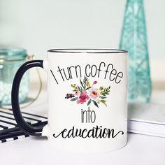 Teacher Coffee Cup Teacher Mug Teacher Appreciation Mug Teacher... ($13) ❤ liked on Polyvore featuring home, kitchen & dining, drinkware, drink & barware, home & living, mugs, white, white coffee cups, coffee cup and handmade coffee mugs