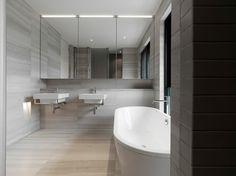 salle de bain grise de design minimaliste