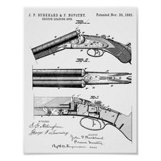 Double Barrel, Patent Drawing, Patent Prints, Corner Designs, Custom Posters, Designs To Draw, Large Prints, Custom Framing, Colorful Backgrounds