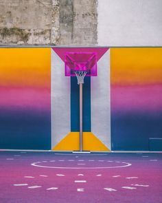 In a unique collaboration between French fashion brand Pigalle and design agency Ill-Studio, the Paris Duperré basketball court was recently redesigned and repainted with a vibrant new color scheme. The narrow basketball court is nestled between two apart Pigalle Basketball, Basketball Court, Basketball Cookies, Basketball Photos, Basketball Uniforms, Basketball Players, Basketball Drawings, Basketball Diaries, Basketball Tattoos