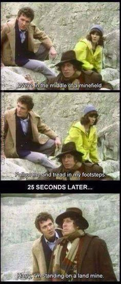 Doctor Who ~ Tom Baker, Doctor, Harry, and Sarah Jane Doctor Who Funny, Doctor Humor, Doctor Who Quotes, I Am The Doctor, 4th Doctor, Eleventh Doctor, Sarah Jane Smith, Classic Doctor Who, Dr Who