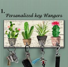 Wooden Cactus key holder for wall, Cactus wall decor, Tropical wall decor,Hook key,Organizer wall ke - Aktuelle Projekte - Wall Mounted Key Holder, Wall Key Holder, Arte Pallet, Decoration Cactus, Tropical Wall Decor, Key Storage, Key Rack, Newlywed Gifts, Wall Organization