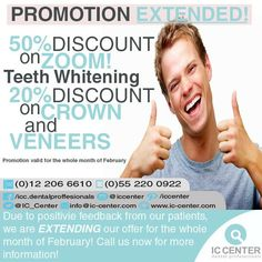 Due to positive feedback from our patients – we are extending our promotion on Zoom! Teeth Whitening, dental crowns and veneers! Call us now for more information.  #ICCenter #Jeddah #dental #promotion #discount #crown #veneers #bleaching #whiterteeth #beautifulsmile  #آي_سي_سنتر #خصم #عرض #سعر_مخفض #طب_الأسنان #جدة #إبتسامة_جميلة  #تبييض_الأسنان #تقنية_الزووم #فينير #أسنان_بيضاء #تلبيسات