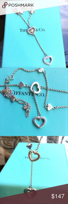Tiffany & Co. Sterling Heart Lariat Necklace in great condition.  comes in Tiffany box (no pouch).  length varies. Jewelry Necklaces