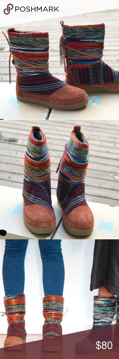 """JUST IN! TOMS NEPAL TEXTILE/SUEDE MIX BOOT This boot takes you to the heights of winter fashion with this mountain boot-inspired style!  + Woven textile and suede upper + Easy slip-on design.  + Back pull loop for easy entry + Leather lacing around shaft for added style + secure fit + TOMS tonal heel patch + Faux shearling lining + Cushioned insole + Rubber outsole + Circumference: 14"""" + Shaft: 8.5""""  Bundle Discount ^ No Trades ^ Make Offers Thur Offer Button ^ Have a question? Please Ask…"""