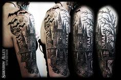 Graveyard Tattoo Designs | Haunted Castle Half Sleeve by ~OnTheLastRoad on deviantART