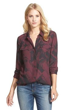 Halogen® Pocket Front Print Blouse (Regular & Petite) | Nordstrom