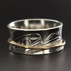 Corrine Hunt, Sterling Silver and 14k Yellow Gold Ring, Eagle, Northwest Coast Native Art