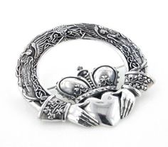 Huge Celtic Claddagh Cloak or Kilt Sterling Silver Pin Brooch by Maxine Miller | Shades of Jewelry