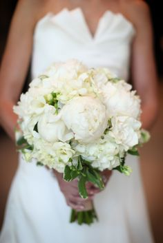 Beautiful white peony and hydrangea bouquet