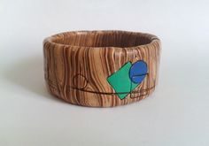 handmade polymer clay wood imitation bracelet decorated with geometric patterns