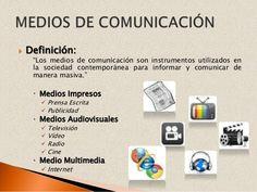 Esta imagen habla de los distintos medios que hay dentro de la comunicación audiovisual y tipos