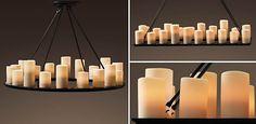 Piller Candle Chandeliers    Restoration Hardware   Dining Room