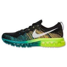 check out ad33f 1effe Hommes Nike Flyknit Air Max Running Chaussures - Noir Blanc Turbo Vert Volt,HOT  SALE!