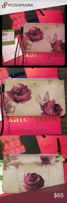 Kate spade wristlet Kate Spade Wrislet - Slim Bee in Hawthorne Lane Roses pattern. Paid $73.54 (incl tax) retail at the Kate Spade store in Las Vegas. Was one of those purchases where I only needed for 1 night for a few hours (easier to dance with!) it's not really my style so I just want to sell it and make some money back instead of it just sitting around my house. It's really pretty and very convenient to carry money, phone, credit cards etc. pretty much brand new all the tags are shown…