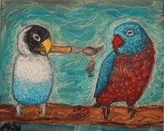 Amber Welch - LOVEBIRD oil painting on 8x10 stretched canvas. Lovebirds usually come in pairs. It is not normal for them to be alone. This…