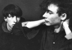 "post-punker: "" Jim Reid and Bobby Gillespie (that would later form Primal Scream), from The Jesus And Mary Chain "" Sound Of Music, New Music, Robert Smith The Cure, Primal Scream, Band Photography, The Lost World, Tour Posters, Music Images, Music Icon"