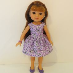 Hearts for Hearts Doll Clothes  Purple Flowered by AmericAnnMade, $13.00