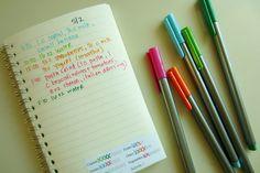 food journal- green pen for veggies, red/fruit, blue/water, orange/dairy, purple/meat, brown/grains, black everything else- make it as colorful as possible