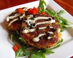 Ravens' Crab-less Cakes Recipe From Stanford Inn by the Seam, made with grated zucchini Brunch Dishes, Brunch Recipes, Cake Recipes, Breakfast Recipes, Sour Cream Ingredients, Cake Ingredients, Vegan Appetizers, Appetizer Recipes, Vegan Dumplings