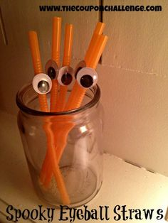 Dollar Store Halloween DIY: Spooky Straws Craft