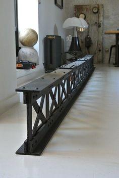 Riveted metal beam in Wood! Steel Furniture, Unique Furniture, Furniture Decor, Furniture Design, Furniture Dolly, Furniture Removal, Industrial House, Industrial Furniture, Steel Columns