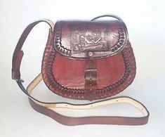 400a21f4bcab Authentic Traditional Leather Mexican Hand Tooled Reddish Brown Purse
