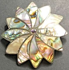 Abalone Sterling Silver Pendant Brooch Inlaid Flower Floral Mexican Signed ICM #ICM