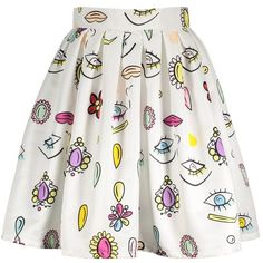 A Line Eyes Print Skirt (245 ARS) ❤ liked on Polyvore featuring skirts, bottoms, saia, faldas, rosegal, patterned skirts, white a line skirt, floral print a-line skirt, white skirt and knee length a line skirt