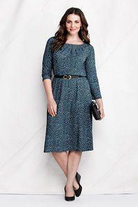Women's Plus Size Pattern Matte Jersey Pleat Neck Dress