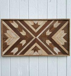 Reclamado el listón Decor - Maple Leaf - Chevron Design - arte rústico - Mosaic Art - diseño geométrico - de pared - pared de madera arte