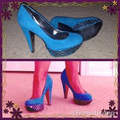 Sam Edelman suede heels Teal suede heals.  Studs on the platform and mirror like in the inside of the heels. Perfect jewel color for holidays!  Wear it with a LBD and make these pop and make you stand out  Sam Edelman Shoes Heels
