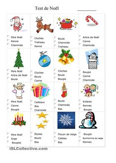 Test dde vocabulaire de Noël: Xmas Crafts, Diy And Crafts, French Worksheets, Christmas Worksheets, French Kids, Core French, French Christmas, Ice Breakers, French Quotes