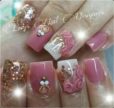 Nails Acrilico Naturales Elegantes 70 Ideas Best Picture For nail trendy acrylic For Your Taste You Fabulous Nails, Gorgeous Nails, Pretty Nails, 3d Nail Designs, Acrylic Nail Designs, Fancy Nails, Bling Nails, Glitter Nails, Hight Light