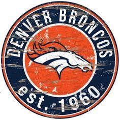NFL Denver Broncos Round Distressed Established Wood Sign 24