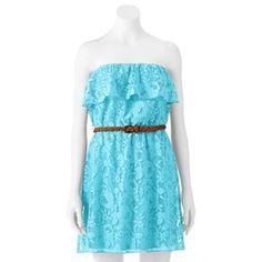 Trixxi Lace Ruffle Dress - Juniors
