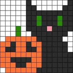 Black Cat And Pumpkin Halloween Perler Bead Pattern / Bead Sprite Easy Perler Bead Patterns, Perler Bead Templates, Diy Perler Beads, Perler Bead Art, Cross Stitch Patterns, Kandi Patterns, Pearler Beads, Pixel Art Halloween, Hama Beads Halloween