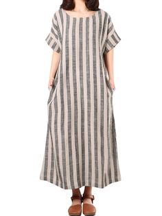 189ff5f6a1e Cheap best ZANZEA Casual Short Sleeves Striped Baggy Dresses For Women on  Newchic