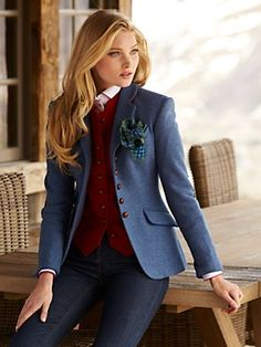fall jackets from Gorsuch -- MERCEDES: I really like this blazer and the vest underneath in the contrast color. Sophisticated and not flashy. This (in whichever color you like best or the William & Sons blazer are my favorite blazers)