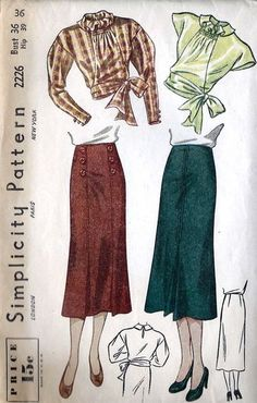 Simplicity 2226; ca. 1938; Misses' and Women's Blouse and Skirt. The blouse with shirring at the...