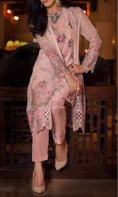 Buy Tea Pink Embroidered Chiffon Dress (2pc) by Maria B. 2016