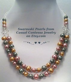 SOLD - Swarovski Vintage Double Strand Pearl Necklace & Earring Set ❥ Rose, Green and Vintage Gold pearls generously embellished with elegant silver-plated bead caps, sparkling crystal rondelles & silver-plated butterflies.