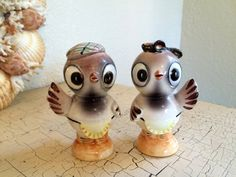 Vintage Brown Birds Kitch 1950's Salt and by Somethingcharming