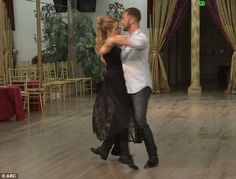 Graceful moves: Lea and Artem glided along a practice floor