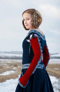 """Medieval Woolen """"Red Sleeves"""" Dress - medieval clothing renaissance costume"""
