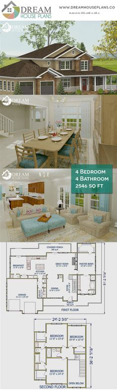 House Plans With Wrap Around Porch Open Floor Cottages Ideas Luxury House Plans, Best House Plans, Dream House Plans, Small House Plans, Dream Houses, Southern House Plans, Country House Plans, Cottage Porch, Custom Home Plans