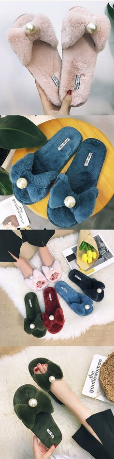 US$11.85  Pearl Flat Soft Plush Warm Winter Bow Butterfly Knot Slippers For Women