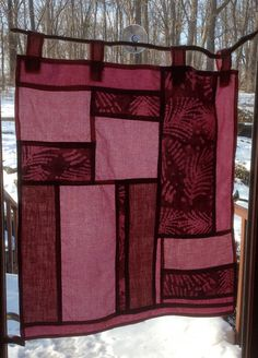Pink & Batik Bojagi/Pojagi window hanging hand stitched hand pieced hand dyed looks like stained glass
