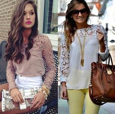 8 Colors Ladies Womens Chiffon Tops Lace Long Sleeve Shirt Casual Blouse UK 6-22 in Clothes, Shoes & Accessories, Women's Clothing, Tops & Shirts | eBay
